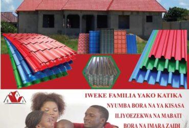 Tunauza Mabati bora ya kisasa yasiyopauka kwa Bei ya punguzo toka Kiwandani.