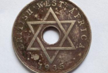1935 BRITISH WEST AFRICA ONE PENNY GEORGIVS V REX ET IND.IMP