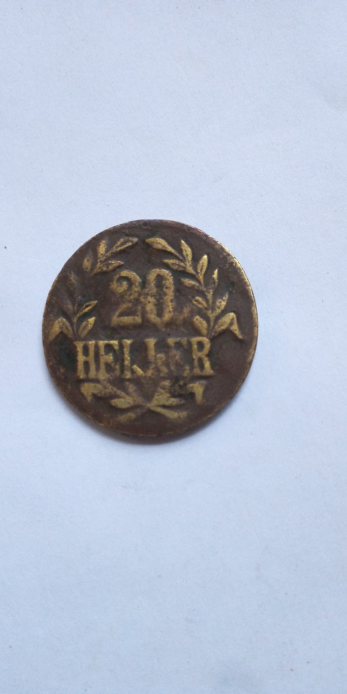 1916 Doa.T 20 HELLER GERMAN EAST AFRICA COLONIAL COIN.