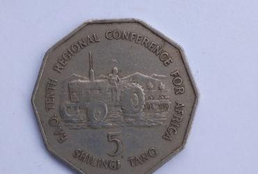 Shilingi tano yenye trector. 1978 . adimu