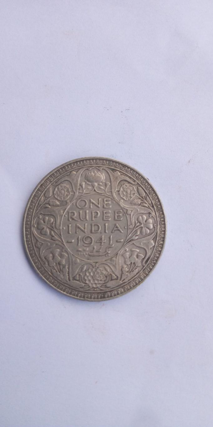One rupee India 1941 George VI King EMPEROR
