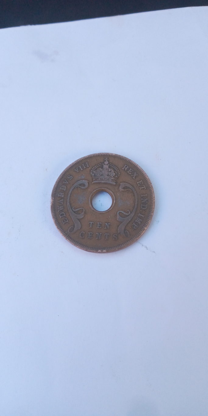 1936 Ten cent British east Africa coin