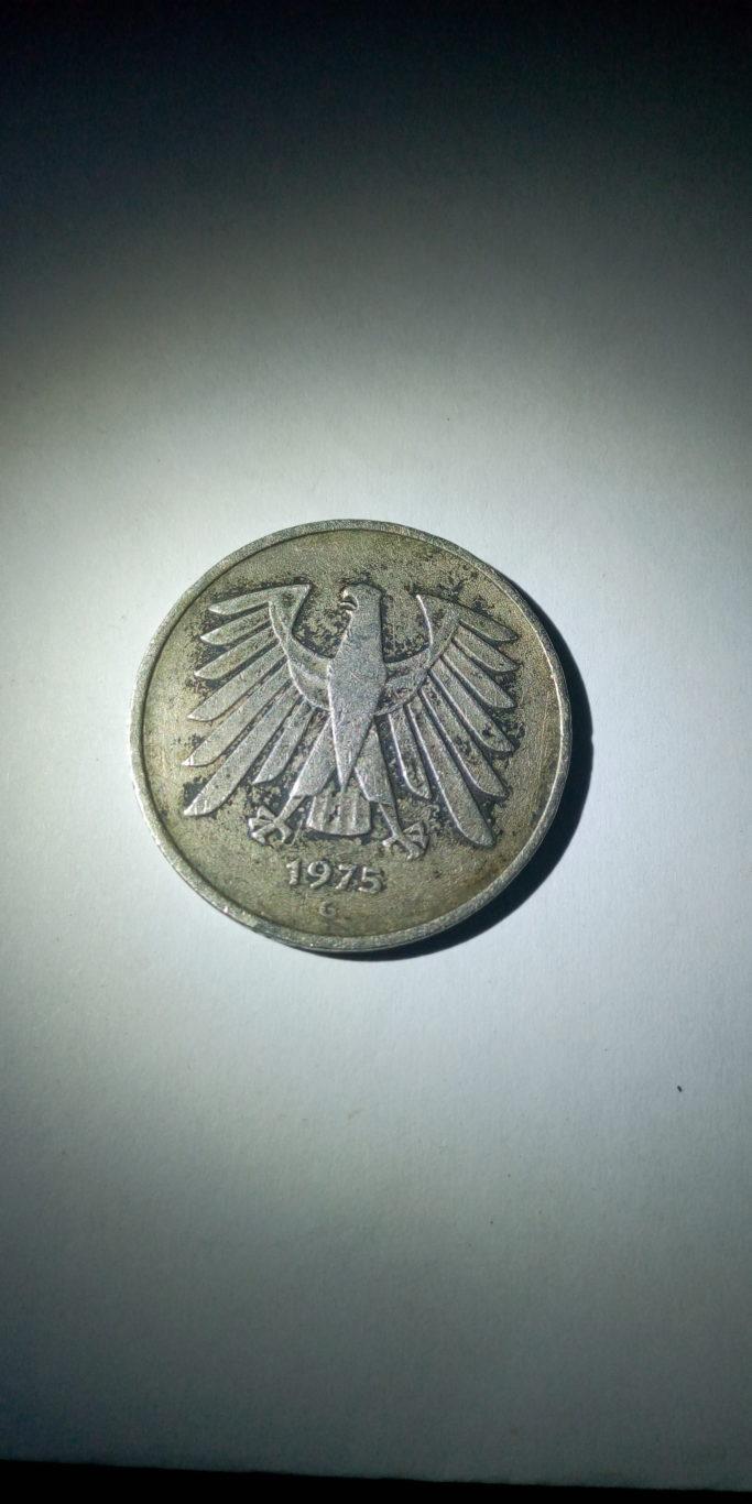 1975 d 5 bundes republik deutschland . deutsche mark