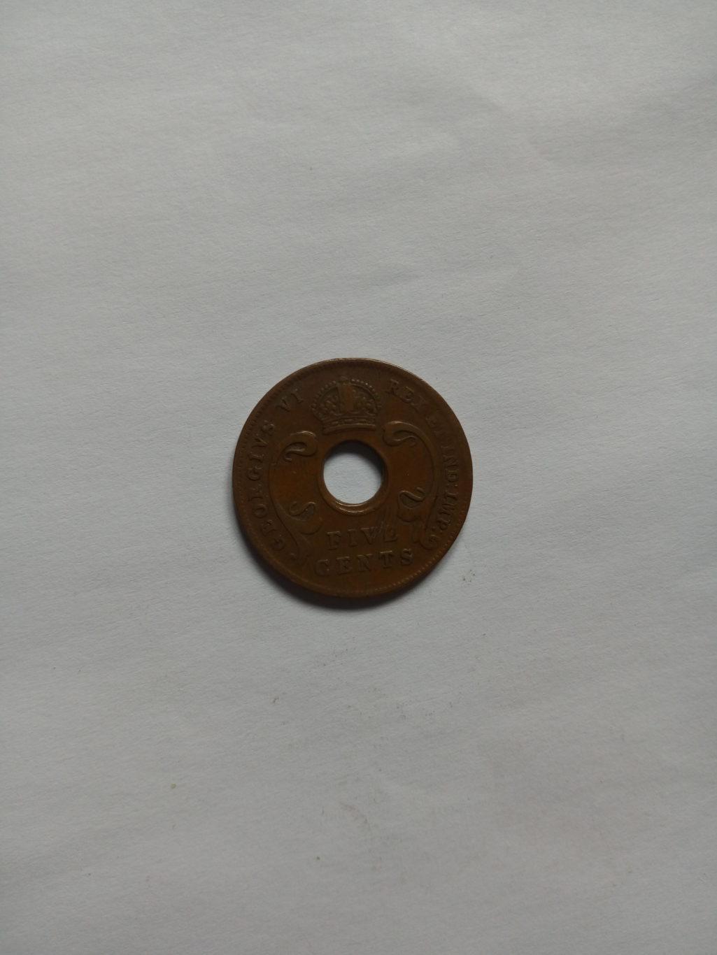 1937_georgivs V1 east Africa 5 cents