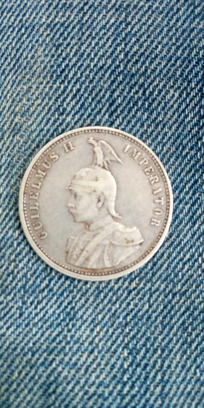 1908 german east africa 1 rupie , silver