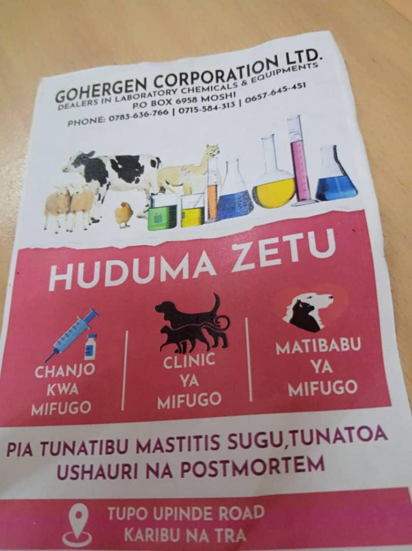 Dawa za Mifugo,chanjo , matibabu, ushauri, chemical za maabara, clinic ya mifugo