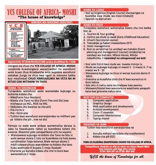 YCS COLLEGE OF AFRICA – MOSHI ( form4 ressiters, QT , form V na VI, Pre FormV.
