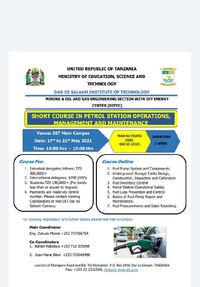Short course in petrol station Operations, Management and Maintenance